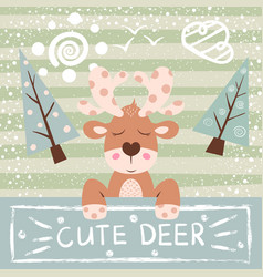 cute funny cartoon deer vector image