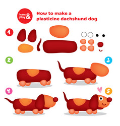 Cute plasticine dachshund step instruction for kid vector