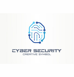 cyber security creative symbol concept digital vector image