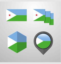 djibouti flag design set vector image