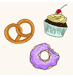 Donut cupcake pretzel color vector