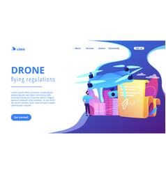 Drone flying regulations concept landing page vector