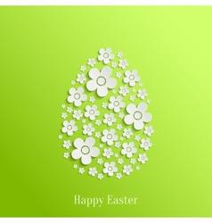 Easter Egg of White Flowers vector image