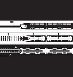 Electrical rail trains from above vector