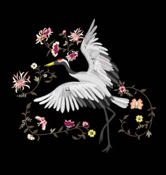 Embroidery embroidered design element - bird vector