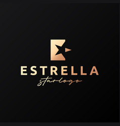 estrella star logo letter e on black background vector image
