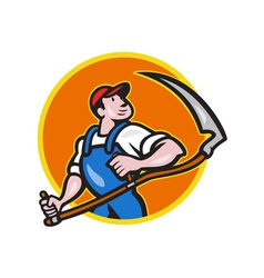Farmer Worker Holding Scythe Circle Cartoon vector