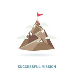 flag on mountain peak vector image