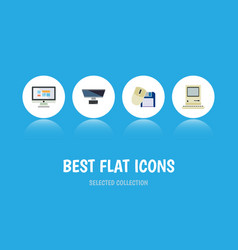 flat icon laptop set of pc computer mouse vector image