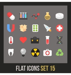Flat icons set 15 vector