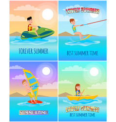 forever lovely summer colorful cartoon banner vector image