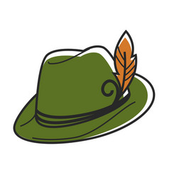 Green hat with small yellow feather isolated vector