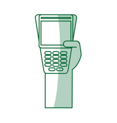 Green silhouette shading hand holding a dataphone vector
