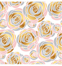 hand drawn abstract rose flowers seamless pattern vector image