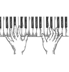 Hands and piano engraving vector