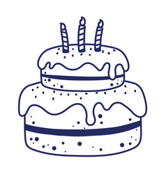 happy birthday cake with candles dessert pastry vector image