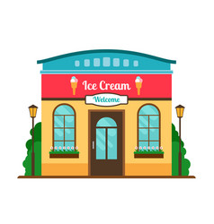 Ice cream cafe colorful store front vector