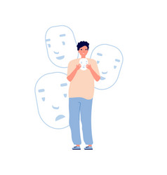 Identity problems bipolar disorder fake faces vector