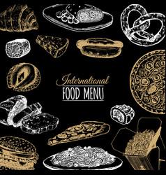 International food menu fusion cuisine vector