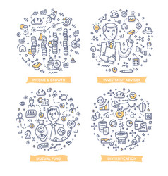 Investment doodle vector