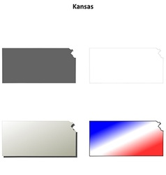 Kansas outline map set vector image