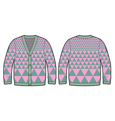 Knitted cardigan with bold pattern vector