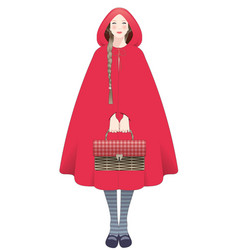 Little red riding hood braids hairstyle holding vector