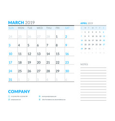 march 2019 week starts on sunday calendar planner vector image