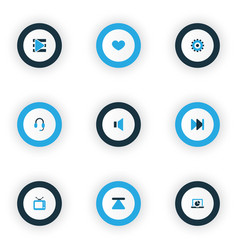 Multimedia icons colored set with earphone mute vector