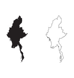 Myanmar country map black silhouette and outline vector
