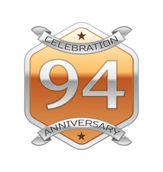 Ninety four years anniversary celebration silver vector image