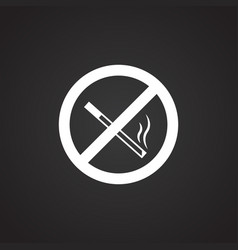 No smoking sign on black background vector