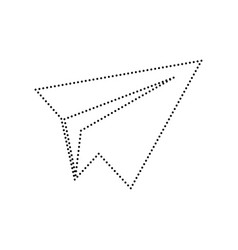 Paper airplane sign black dotted icon on vector