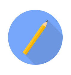 pencil flat icon with shadow for web design vector image