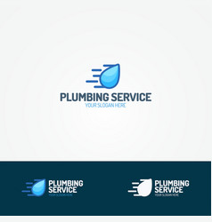 plumbing service logo set with flying water drop vector image