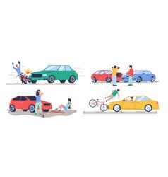 Road traffic accident car crash set flat vector
