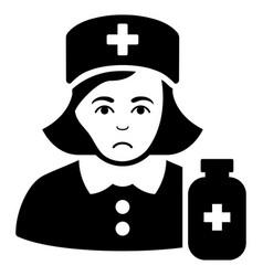 Sad apothecary lady black icon vector