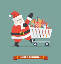 Santa claus push a shopping cart with piles of vector