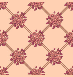 seamless coral flowers fence background vector image