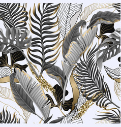 Seamless pattern with black and white tropical vector