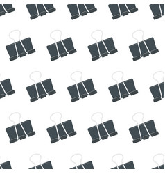 seamless pattern with stationery clip on white vector image