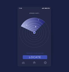 Search app with radar mobile ui vector
