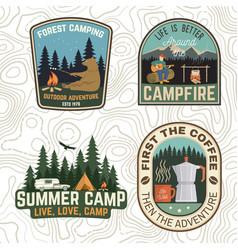 Set camping and caravanning club badges vector