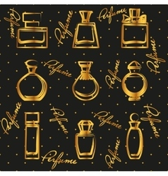 Set of different gold perfume bottles in vector image