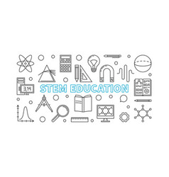 Stem education horizontal banner in line vector