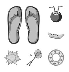 Summer rest monochrome icons in set collection for vector