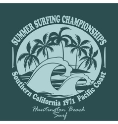 Surfers wear typography emblem Huntington Beach vector image