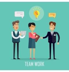 Team Work Concept in Flat Design vector image