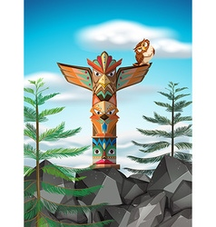 Totem pole on the cliff vector image