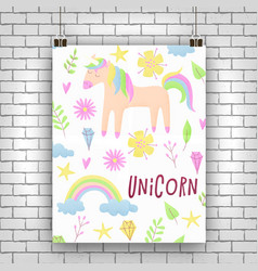 unicorn design set with clouds and rainbow vector image